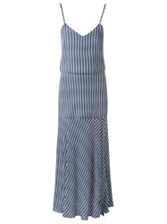 Giuliana Romanno Striped Midi Dress Blue