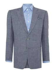 Chester Barrie Textured Glen Check Jacket Blue