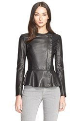 Women's Armani Collezioni Lambskin Leather Peplum Jacket