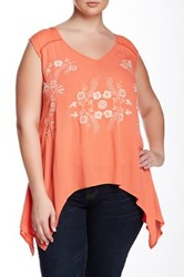 Halo Embroidered Sharkbite Tank Plus Size Orange
