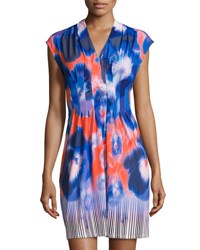 Catherine Malandrino Dazed Pansies Printed Cap Sleeve Dress