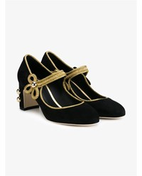 Dolce And Gabbana Vally Suede Mary Jane Pumps Black