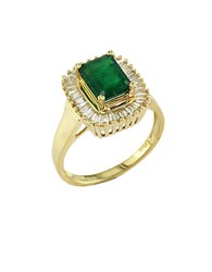 Effy Brasilica Emerald And Diamond Ring In 14 Kt. Yellow Gold Emerald Gold