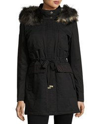 French Connection Faux Fur Hooded Parka Black