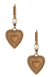 Liz Palacios Antiqued Dangling Heart Earrings No Color