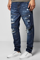 Boohoo Fit Panelled Jeans With Extreme Rips Dark Blue