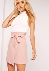 Missguided Paper Bag Waist Wrap Mini Skirt Pink Pink