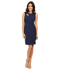 Adrianna Papell Cut Out Sheath Dress With Hardware Lyric Navy Women's Dress Black