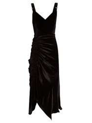 Preen Joan Ruched Stretch Velvet Midi Dress Black