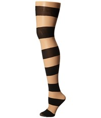 Alice Olivia Horizontal Stripe Tights Nude Black