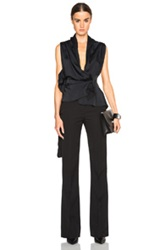 Victoria Beckham Matte Satin Drape Top In Black