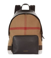 Burberry Shoes And Accessories Canvas Leather House Check Backpack Unisex Black