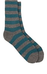 Barneys New York Men's Striped Stockinette Stitched Mid Calf Socks Turquoise Grey Blue Turquoise Grey Blue