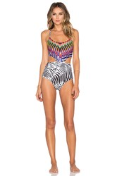 Pilyq Embroidered Phoenix One Piece Swimsuit Black And White