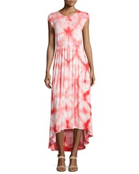 Neiman Marcus Tie Dye Cap Sleeve Maxi Dress White Flame Scarlet