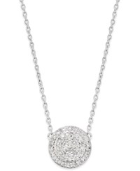 Macy's Diamond Cluster Disc Pendant Necklace 1 5 Ct. T.W. In Sterling Silver