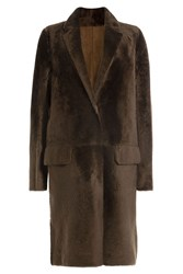 Yves Salomon Sheepskin Coat Brown