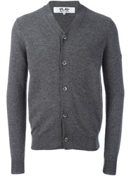 Comme Des Garcons Play V Neck Cardigan Grey