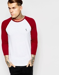 Religion Contrast Raglan 3 4 Length Sleeve Top Whiteoxblood