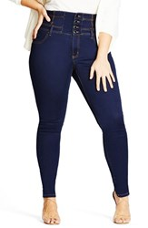 City Chic Plus Size Women's 'Harley' Corset Waist Stretch Skinny Jeans