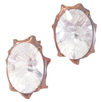Antonym Quartz Large Stud Earrings Rose Gold With Clear Quartz