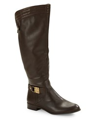 Anne Klein Kaydon Wide Calf Leather Boots Dark Brown