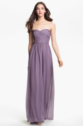 Monique Lhuillier Strapless Ruched Chiffon Sweetheart Gown Nordstrom Exclusive Purple