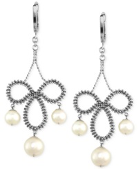 Effy Collection Pearl Lace By Effy Cultured Freshwater Pearl Chandelier Earrings In Sterling Silver 6 1 2Mm White