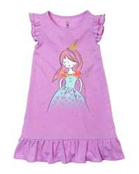 Petit Lem Princess Ruffle Trim Sleeveless Nightgown Purple