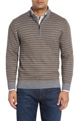 Cutter And Buck Men's Big Tall 'Douglas Range' Quarter Zip Stripe Wool Blend Sweater