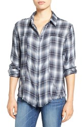 Signorelli Women's Plaid Frayed Hem Shirt