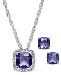 Charter Club Silver Tone Purple Crystal Pave Necklace And Earrings Set Only At Macy's