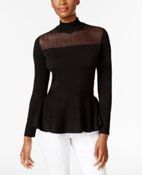 Thalia Sodi Embellished Illusion Peplum Top Only At Macy's Deep Black