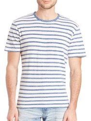 Ag Jeans Cliff Crew Striped Tee Blue White