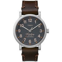 Timex Waterbury Watch Grey And Brown Leather