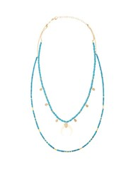 Jacquie Aiche Diamond Turquoise Horn And Yellow Gold Necklace Blue