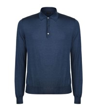 Corneliani Long Sleeve Polo Shirt Male Navy