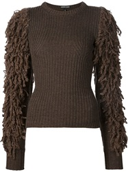 Alexandre Plokhov Shaggy Sleeve Sweater Brown