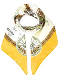 Hermes Vintage 'L' Hiver En Post' Scarf Yellow And Orange