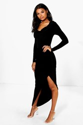 Boohoo Cowl Neck Slinky Maxi Dress Black