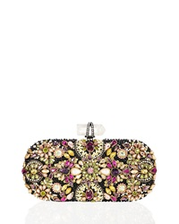 Marchesa Lily Crystal Embroidered Clutch Black Multi