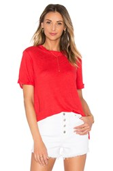 Michael Stars Short Sleeve Crew Neck Tee With Side Slits Red
