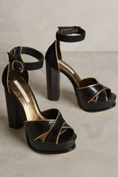 Anthropologie Cynthia Vincent Wild Platform Heels Black And Gold 9 Heels