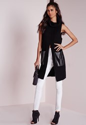 Missguided Split Front Chunky Tunic Black Black