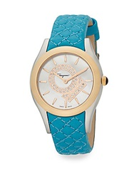 Salvatore Ferragamo Grande Maison Mother Of Pearl Stainless Steel And Quilted Leather Strap Watch Turquoise Gold