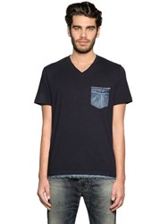 Diesel Cotton Jersey T Shirt With Denim Details