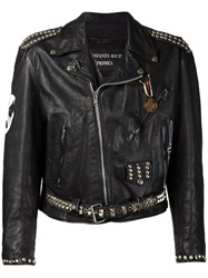 Enfants Riches Deprimes Studded Printed Biker Jacket Black