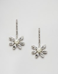 Asos Occasion Stone Strand Earrings Crystal Clear