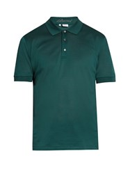 Brioni Short Sleeved Cotton Pique Polo Shirt Green