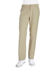Black Brown Straight Leg Linen Pants Natural